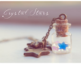 Glass vial pendant bottled stars necklace,potion bottle necklace,star necklace best friend gift for her,miniature necklace,celestial jewelry