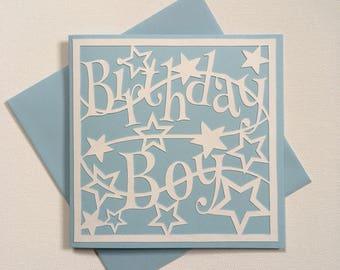 Birthday card, birthday boy card, greeting card, handmade card, handcut papercut
