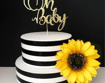 Oh baby cake topper- little pumpkin cake toppers- baby shower cake topper- Fall baby shower
