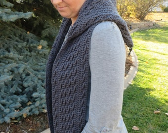 Hooded scarf crochet pattern, scoodie, scarf with hood, crochet scarf, cabled scarf pattern, long scarf, fashion winter scarf