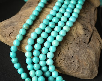 6mm Magnesite Beads in Light Turquoise Color Dyed Stabilized Faux Turquoise Robin's Egg Blue Stone Beads