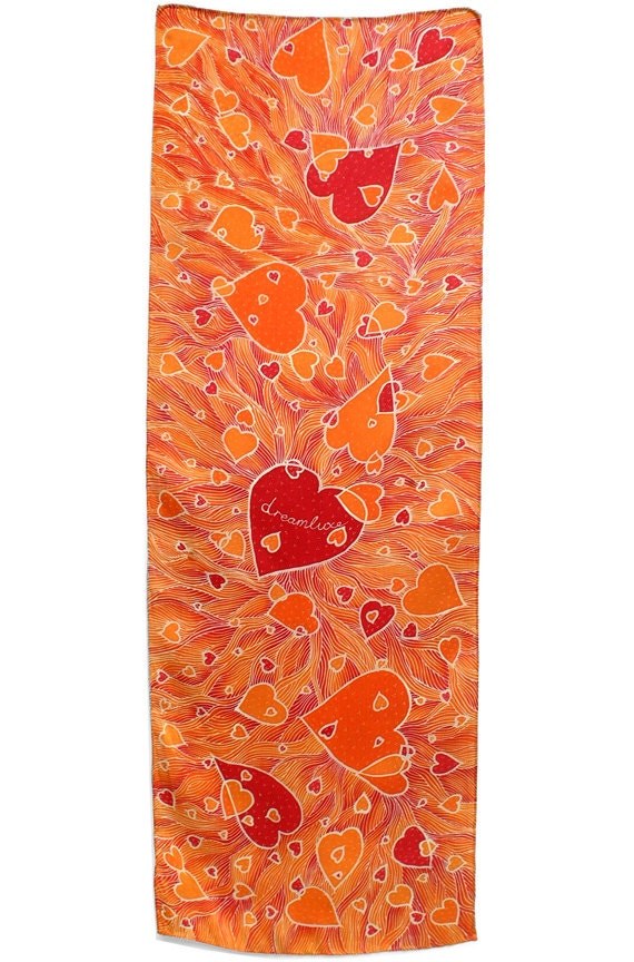 Silk scarf hand painted with Valentines hearts girlfriend gift