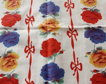 """Vintage Fabric Piece Roses and Ribbons 1930s 16-1/2"""" x 34"""""""