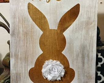 Such a Cute Happy Easter Stained Bunny Rabbit wooden sign