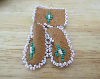 Suede Moccasin Pin With Beading Jewelry