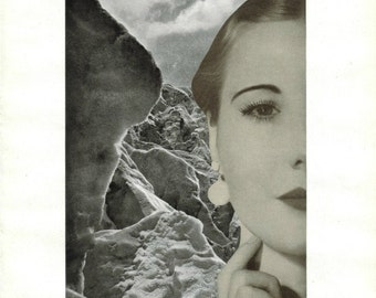 One of a Kind Art, Original Collage, Black and White Retro Modern Artwork, Ice Queen