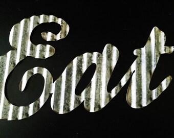"Corrugated metal ""Eat"" Sign"