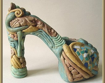"""Imaginative ceramic object from the series """"Boots"""" No. id 54"""