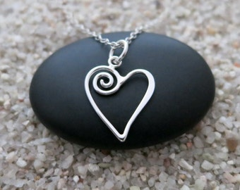 Heart Necklace, Sterling Silver Open Heart Charm with Swirl, Love Jewelry