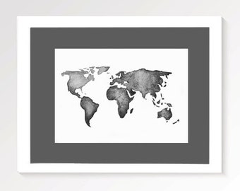 World Map Monochrome Print | World Watercolour | Watercolor Painting | Decore | Wall Art | Black and White | PRINT