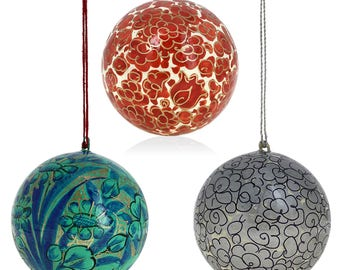 Set of 18 Tree Ornaments Paper - Paper Mache - Handmade Ornament Balls - Unique Gifts - Xmas Gifts - Handmade Holiday Gifts