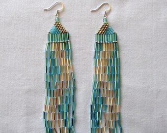 A Simple Wave, Bugle Bead Earrings in Aqua and Silver