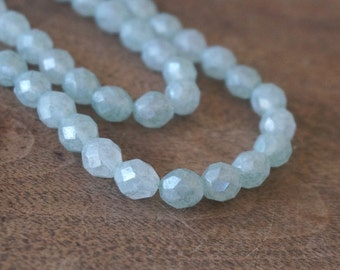 Stone Green Faceted Czech Glass Beads, 8mm fire polished luster, 8 inch bead strand (1159F)