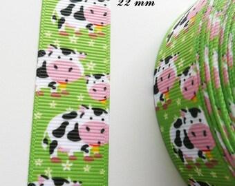 Ribbon 22 mm sold by 50 cm black spots & green grosgrain white cow