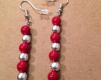 Red and silver ear rings