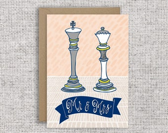 King & Queen wedding card | Engagement card, chess, board game card, marriage, greeting card, royalist, monarchy