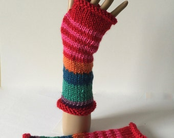 Multicolor striped knitted fingerless mitts, boho gloves, colorful fingerless gloves, rainbow fingerless mitts, wool-free mitts
