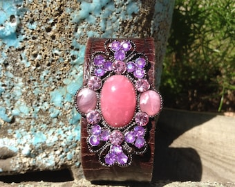 Vintage Pink and Purple Brooch Leather Cuff Bracelet, Jeweled Leather Cuff, Jeweled Cuff Bracelet, Free Shipping