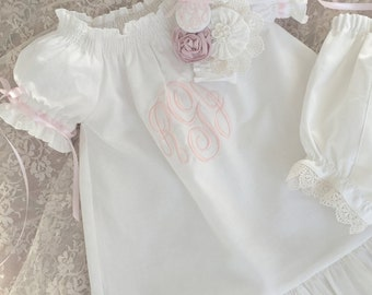 3 Piece Set Baby Dedication Dress Baptism Special Occasion Boutique Ivory or White Monogrammed Dress Gown and Headband
