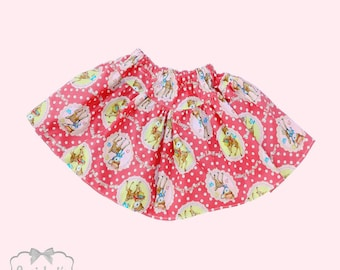 SALE Pink Skirt Girl - Pink Deer Skirt - Girl Cute Skirt - SALE Skirt Girls Size 4T 4 - Ready to Ship - Toddler Kawaii Rose Pink Polka Dot