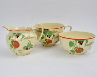 Vintage Bella Vista Creamer, Sugar and Teacup Art Deco Victorian Johnson Bros. England