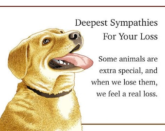 Sympathy Card for the Loss of a Dog, Pet, Puppy Golden lab