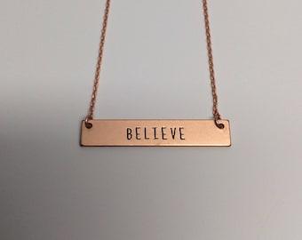 believe necklace, believe jewelry, believe pendant, bar necklace, rose gold bar necklace, rose gold bar pendant, bar pendant, bar jewelry