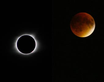 Side by Side of Total Solar & Lunar Eclipse