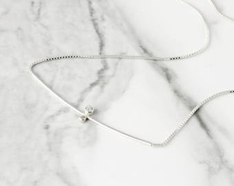 Double gemstone necklace - sterling silver necklace