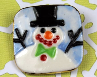 Snowman Brooch Handmade Porcelain Ceramic Jewelry for Christmas