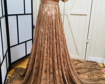 Ready to ship Calista Lace Full Circle Maternity Gown, Short Flutter Sleeves, Long train,mocha maternity dress