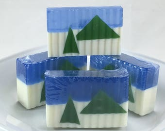 Snowy Trees Soap- Handcrafted Soap scented with Peppermint and Roesmary Essential Oils Batch #276