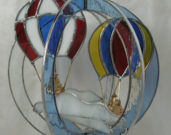 Floating Hot Air Balloons, Handmade in Stained Glass, Whirl,Suncatcher