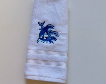 Family of Dolphins on Quality Material Hand Towel