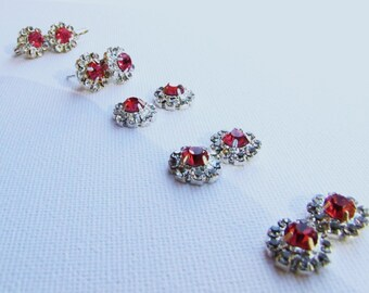 5 pairs bridesmaids red rhinestone stud earrings - Round solitary ruby colored and diamond look-alike rhinestones