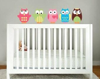 wall decals - owl decals - Kids set of 5 owls vinyl wall decal - nursery owls for crib - Vinyl decals  -  Nursery