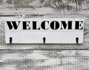 welcome sign coat rack,wood coat rack, rustic coat rack,entryway coat hanger, coat rack, wall organizer, hat rack, wood wall organizer