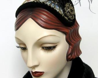 Metallic Brocade Half Hat