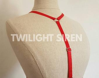 KAWAII BODY HARNESS- Asta- red elastic strap frame bralet, cage lingerie, adjustable, Valentines, goth, polewear, burlesque
