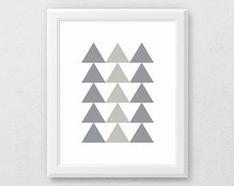 Grey Geometric Art, Grey Wall Art, Scandinavian Art, Triangle Art, Grey Triangle Print, Triangle Wall Print, Modern Minimalist, Neutral Art