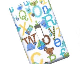 Alphabet ABC Blue Light Switch Plate Cover