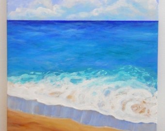Ocean 2 Original Acrylic Painting  from Kauai Hawaii by Marionette sand waves beach blue teal clouds