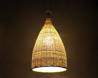 Flared Bamboo Pendant Lights-Bamboo Ceiling Lighting-Bamboo Craft-Bamboo Decoration-Decorative Lamps-Bamboo Lighting Fixtures-110-240V