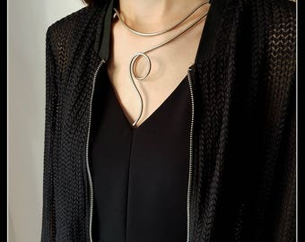 Silver Necklace (Alpaca)-Contemporary jewellery-art to wear-modern necklace-silver necklace-sculpture to wear