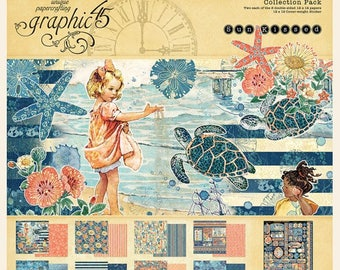 Graphic 45 SunKissed Collection, Includes 2 Sets of 8 Double Sided Papers (16 total), 1-Sticker Sheet Sun Kissed