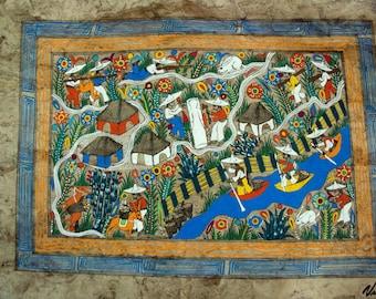 Mexican Amate Folk Art Bark Painting