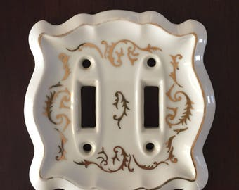 Vintage Lefton's China Ceramic Double Light Switch Plate Cover