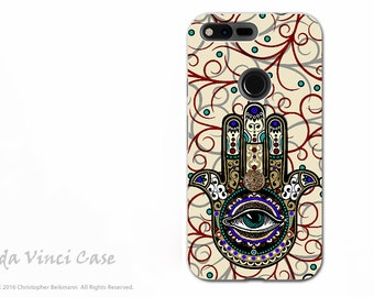 Hamsa Google Pixel XL Tough Case - Evil Eye Protection and Good Luck Hand Symbol - Sacred Defender