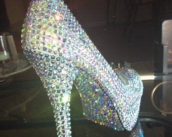 Crystallized Crystal Clear Aurora Borealis High Heels