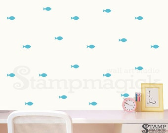 2x4.5 Fish Pattern Wall Decal for Baby Nursery - Fish Wall Stencil Pattern Wallpaper Effect - Vinyl Wall Decor Removable Stickers - K307A